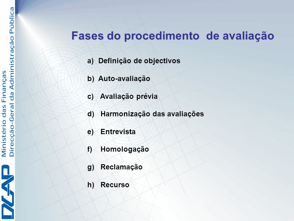 Fases do procedimento de avaliação