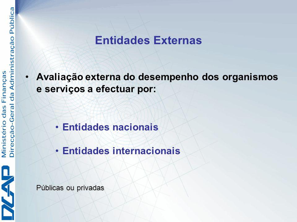 Entidades Externas Avaliação externa do desempenho dos organismos e serviços a efectuar por: Entidades nacionais.