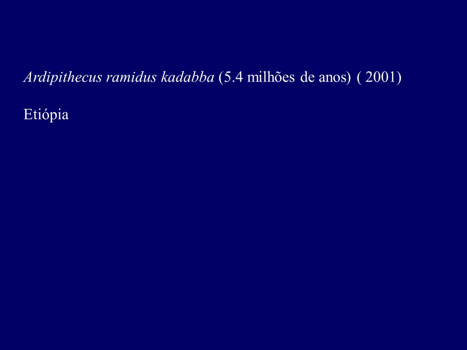 Ardipithecus ramidus kadabba (5.4 milhões de anos) ( 2001)