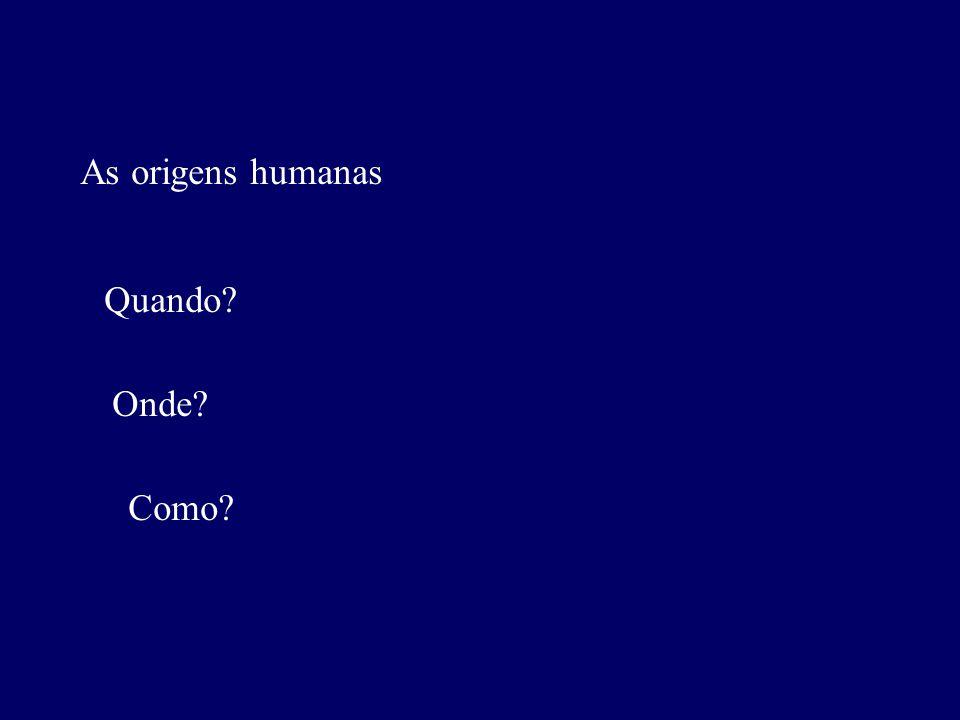 As origens humanas Quando Onde Como