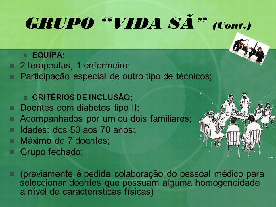 GRUPO VIDA SÃ (Cont.) 2 terapeutas, 1 enfermeiro;