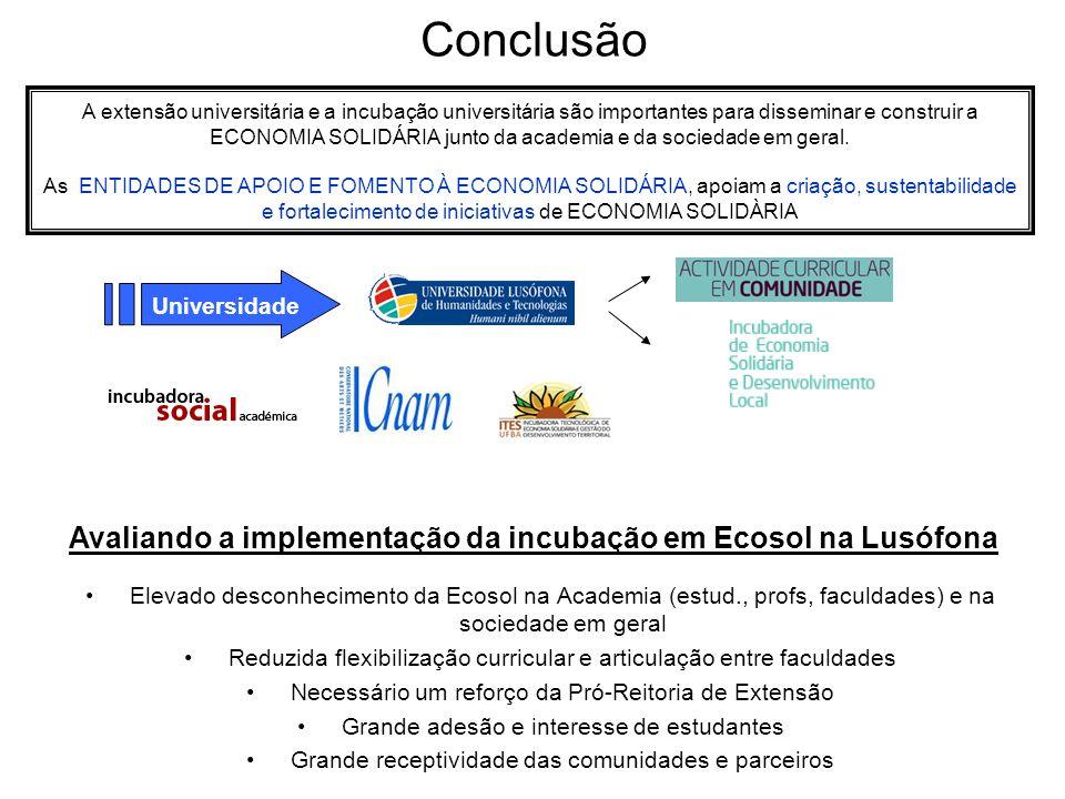 Avaliando a implementação da incubação em Ecosol na Lusófona