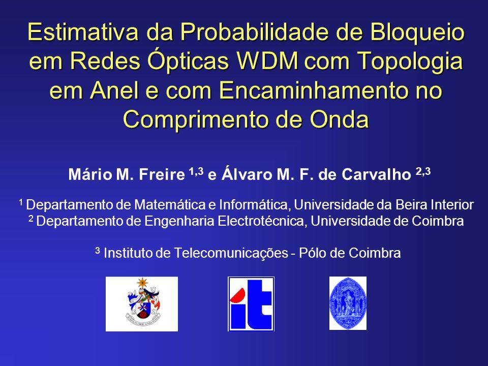 Estimativa da Probabilidade de Bloqueio em Redes Ópticas WDM com Topologia em Anel e com Encaminhamento no Comprimento de Onda Mário M.