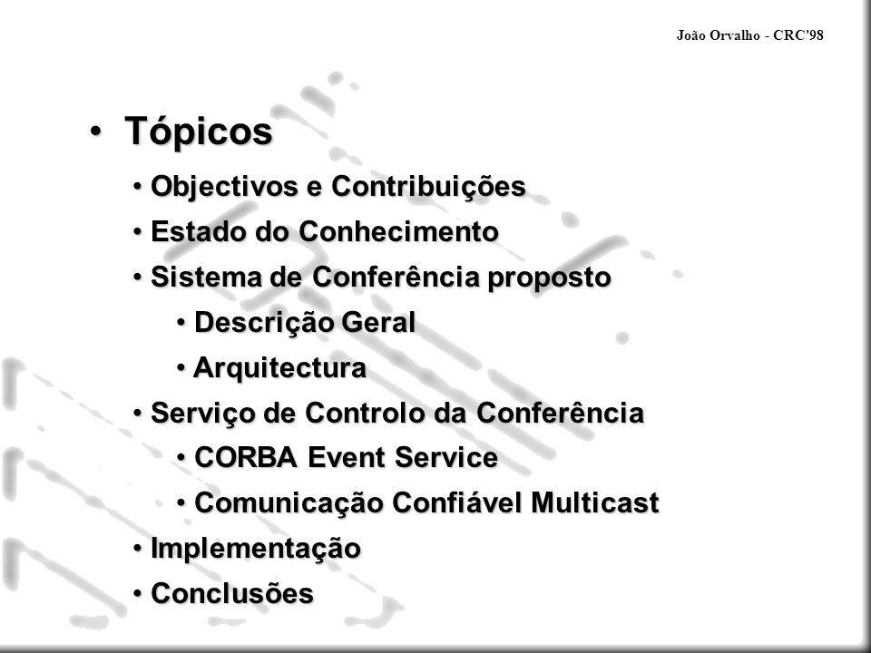 Tópicos Objectivos e Contribuições Estado do Conhecimento