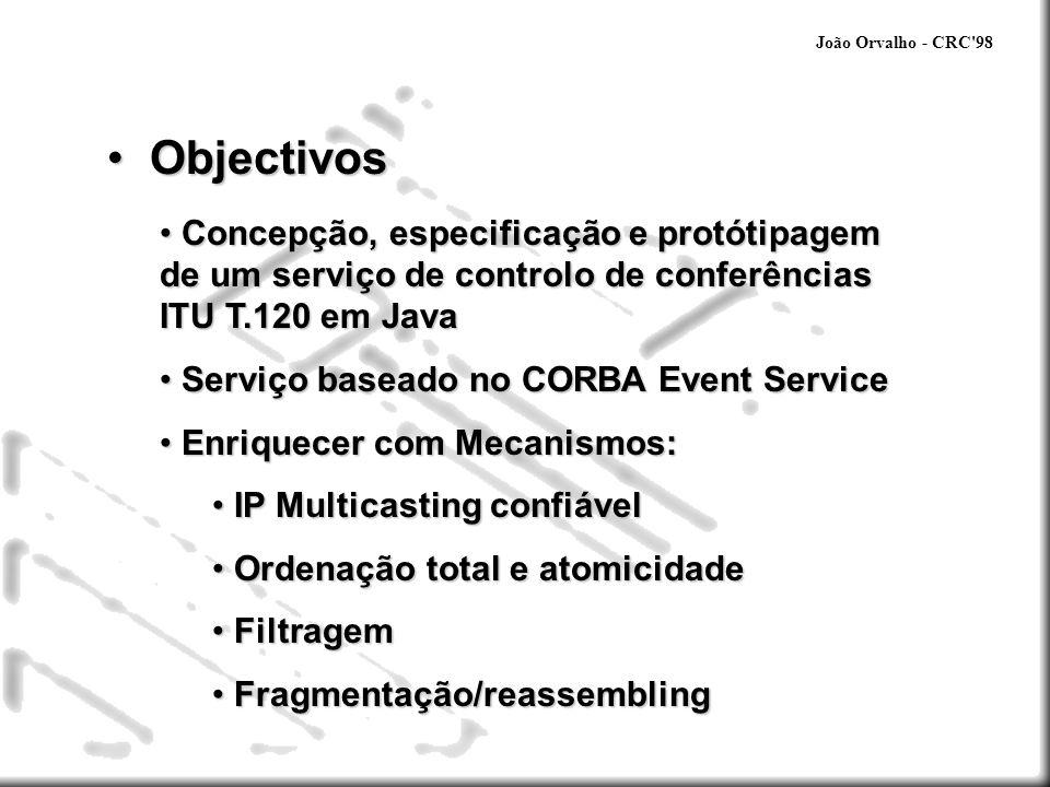 João Orvalho - CRC 98 Objectivos. Concepção, especificação e protótipagem de um serviço de controlo de conferências ITU T.120 em Java.