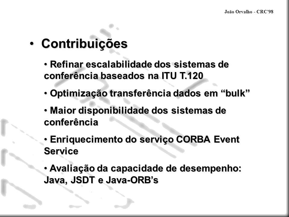João Orvalho - CRC 98 Contribuições. Refinar escalabilidade dos sistemas de conferência baseados na ITU T.120.