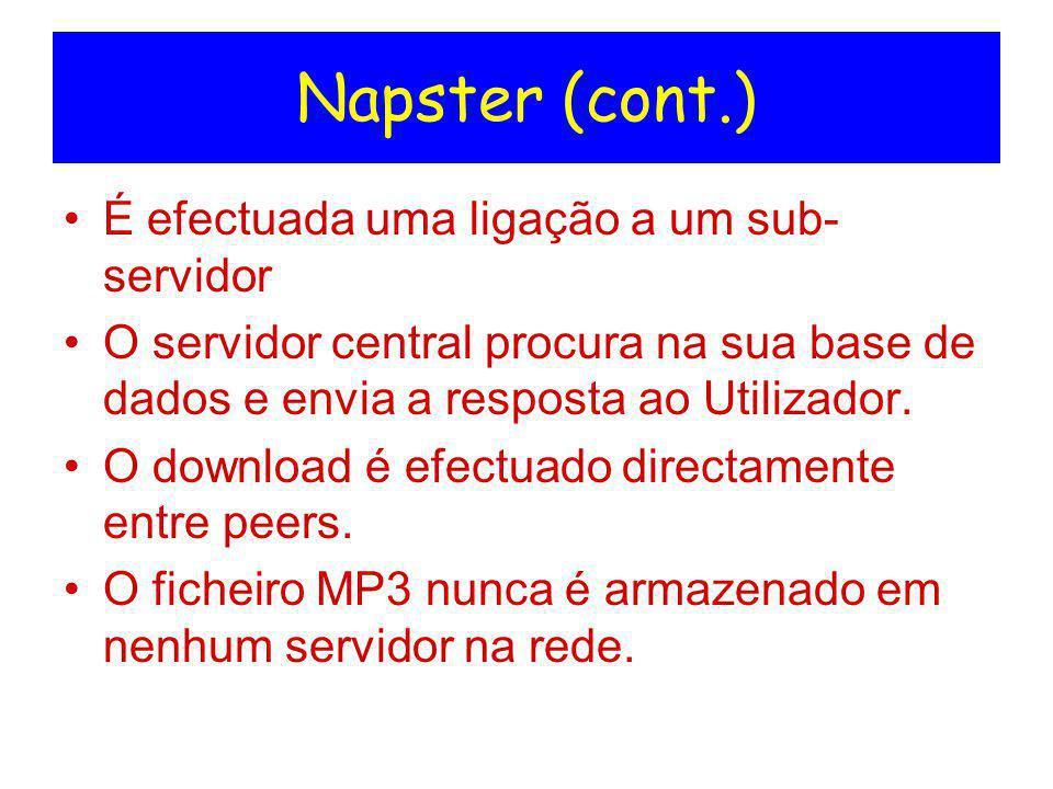 Napster (cont.) É efectuada uma ligação a um sub-servidor