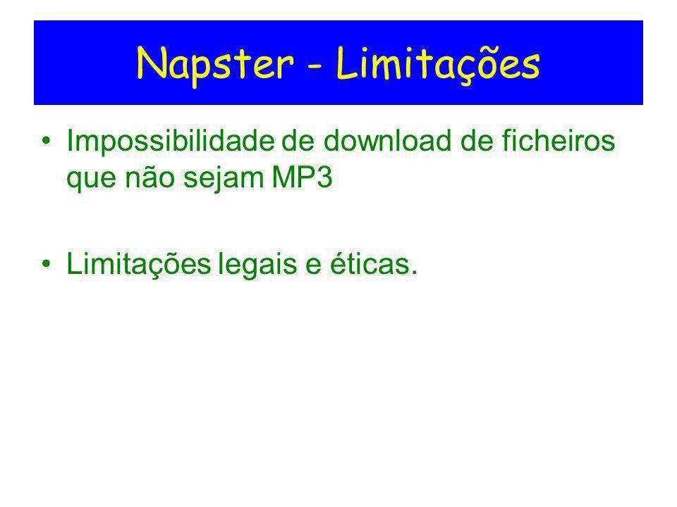 Napster - Limitações Impossibilidade de download de ficheiros que não sejam MP3.