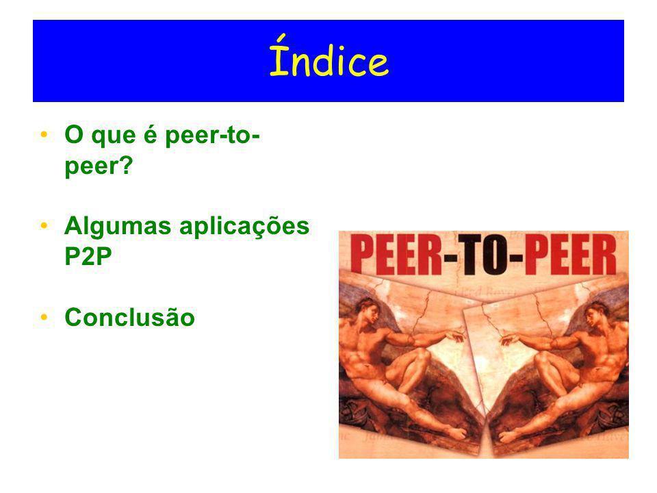 Índice O que é peer-to-peer Algumas aplicações P2P Conclusão