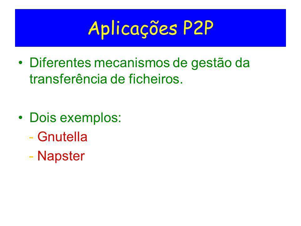 Aplicações P2P Diferentes mecanismos de gestão da transferência de ficheiros. Dois exemplos: - Gnutella.