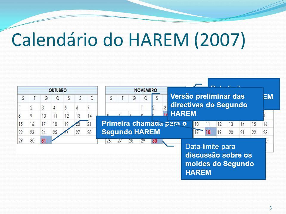 Calendário do HAREM (2007) Data-limite para registo no HAREM