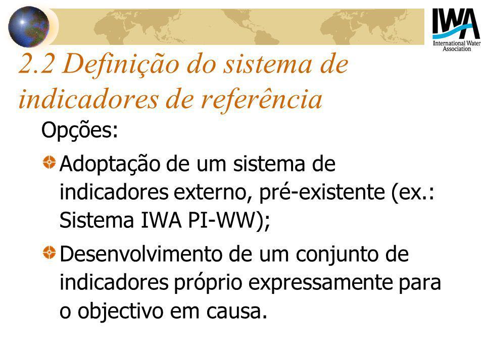 2.2 Definição do sistema de indicadores de referência