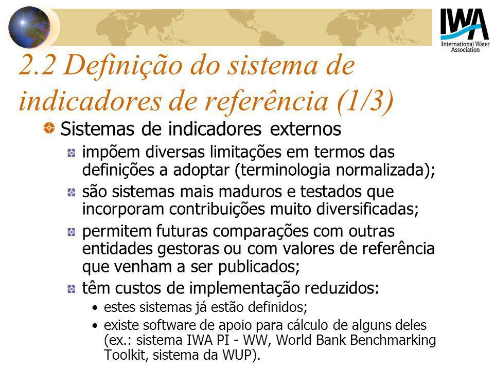 2.2 Definição do sistema de indicadores de referência (1/3)