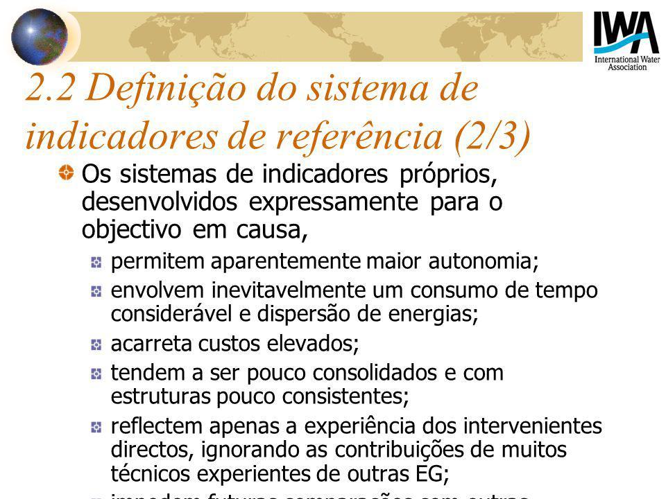 2.2 Definição do sistema de indicadores de referência (2/3)