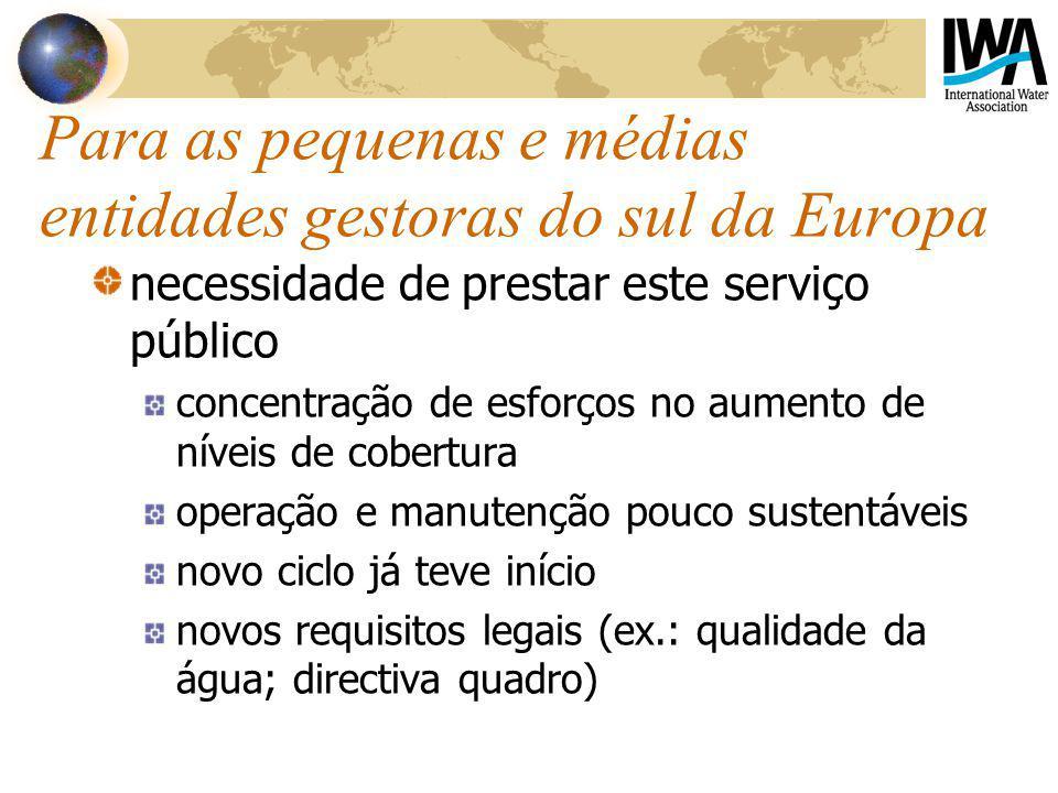 Para as pequenas e médias entidades gestoras do sul da Europa