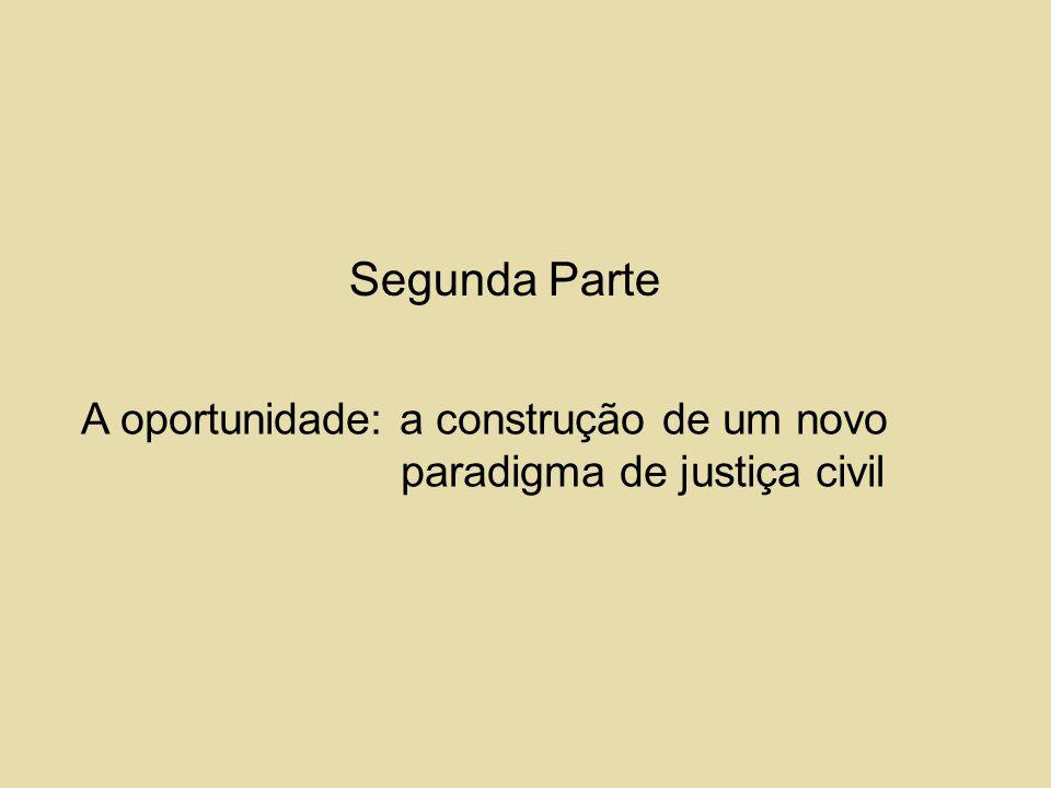Segunda Parte A oportunidade: a construção de um novo paradigma de justiça civil