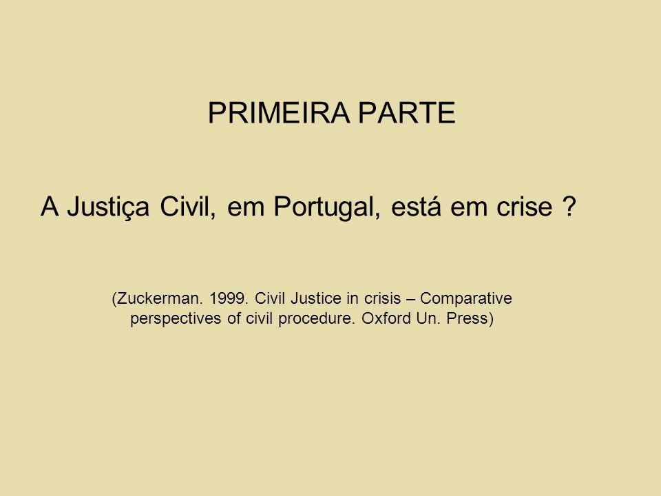 PRIMEIRA PARTE A Justiça Civil, em Portugal, está em crise