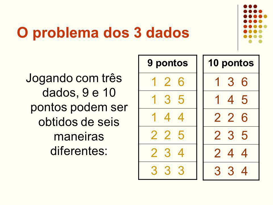 O problema dos 3 dados Jogando com três dados, 9 e 10 pontos podem ser obtidos de seis maneiras diferentes: