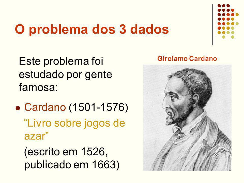 O problema dos 3 dados Este problema foi estudado por gente famosa: