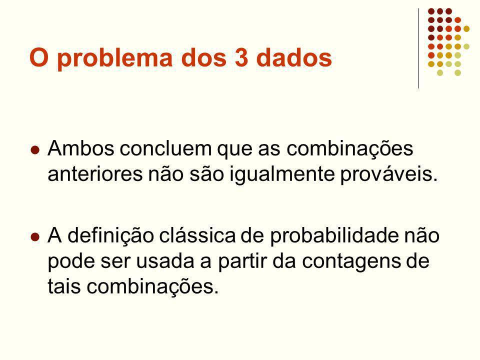 O problema dos 3 dados Ambos concluem que as combinações anteriores não são igualmente prováveis.