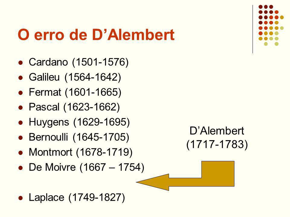 O erro de D'Alembert D'Alembert (1717-1783) Cardano (1501-1576)