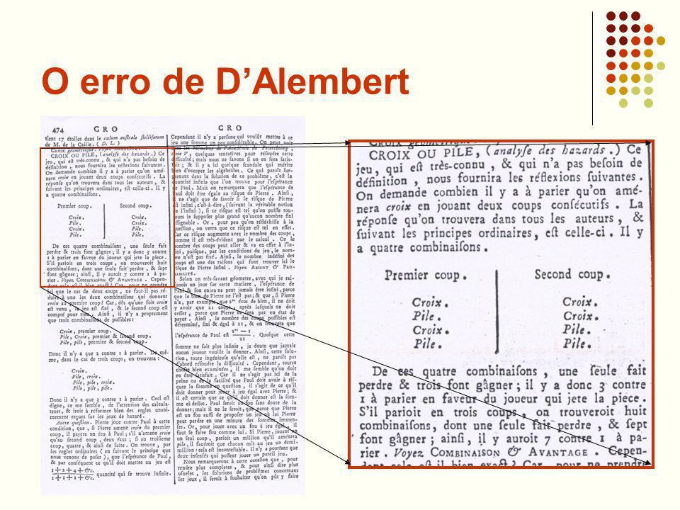O erro de D'Alembert É claro que D'Alembert estava a par da forma usada para calcular a probabilidade pedida.