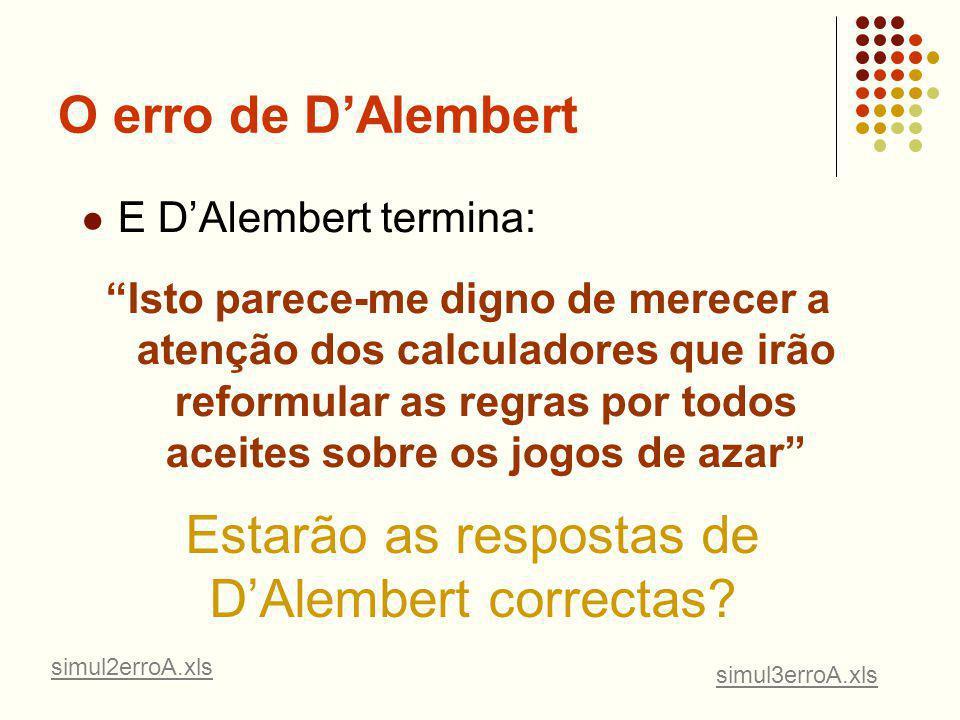 Estarão as respostas de D'Alembert correctas