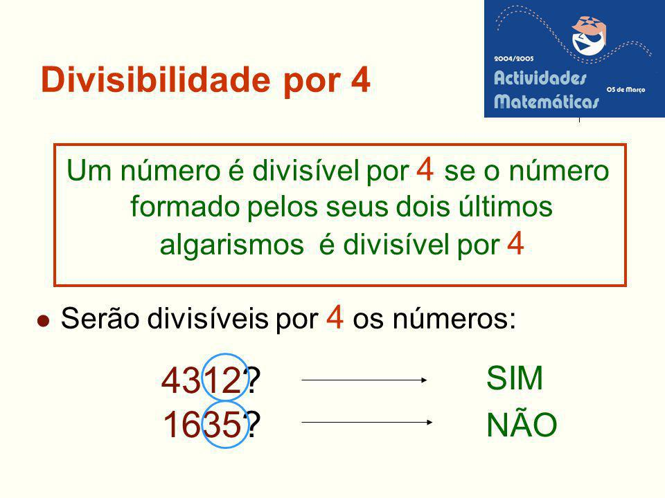 4312 1635 Divisibilidade por 4 SIM NÃO