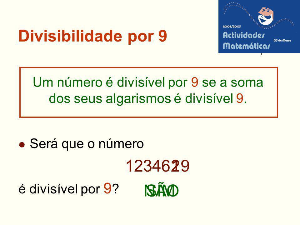 12346 9 2 1 NÃO SIM Divisibilidade por 9