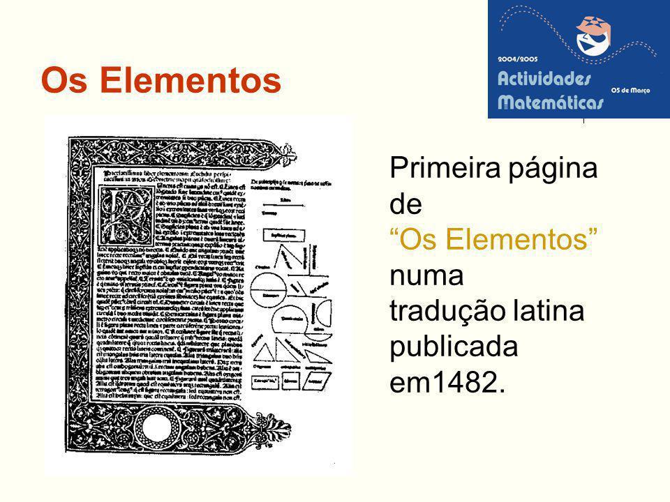 Os Elementos Primeira página de Os Elementos numa tradução latina