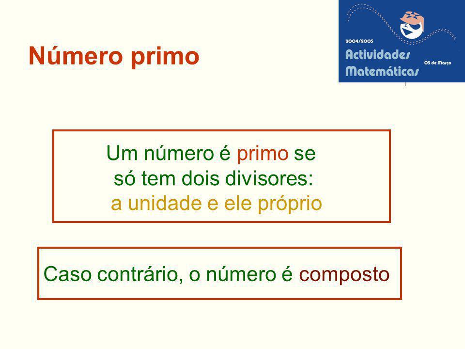 Número primo Um número é primo se só tem dois divisores:
