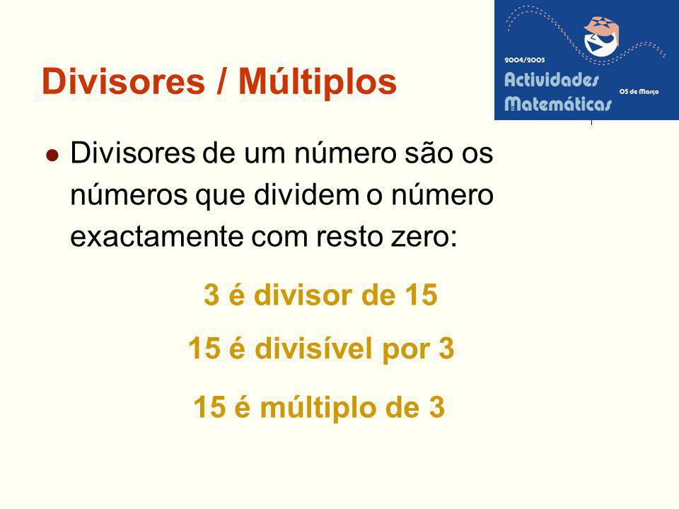 Divisores / Múltiplos Divisores de um número são os números que dividem o número exactamente com resto zero: