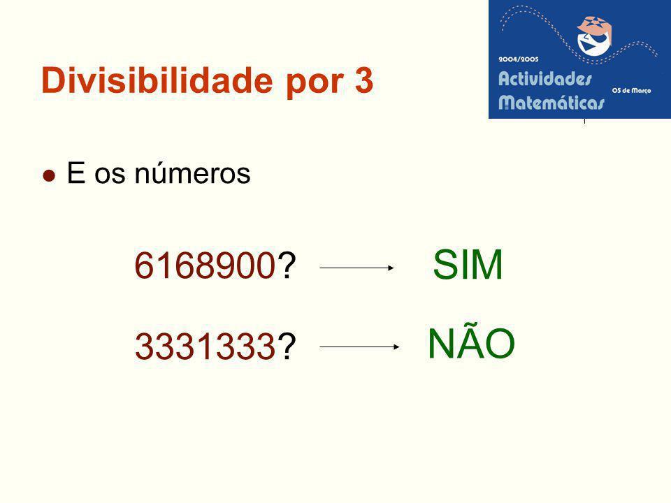 Divisibilidade por 3 E os números 6168900 3331333 SIM NÃO