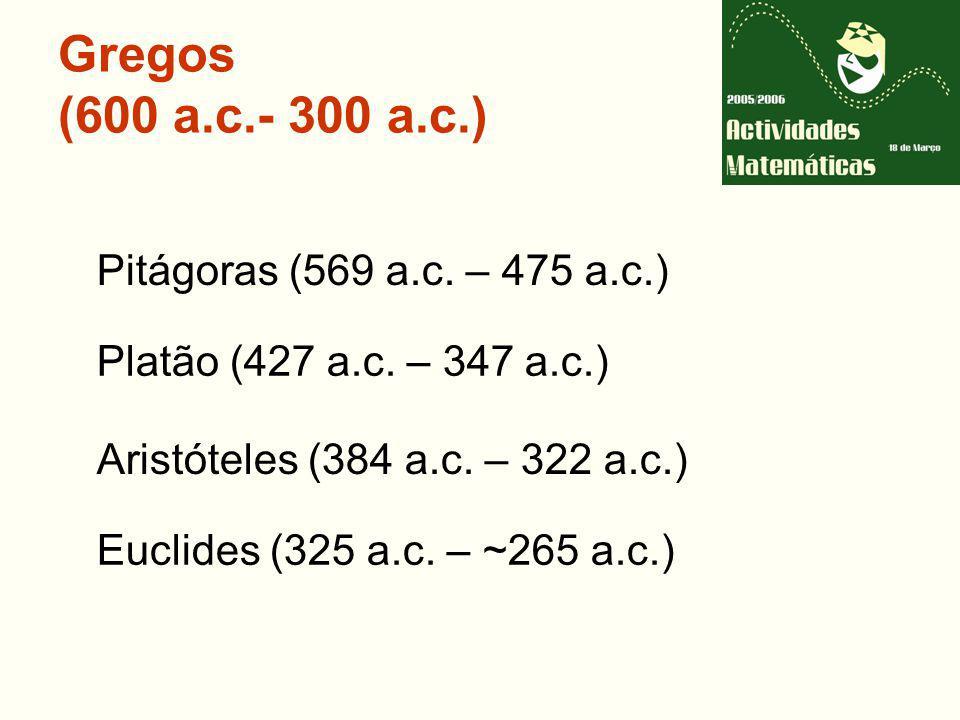 Gregos (600 a.c.- 300 a.c.) Pitágoras (569 a.c. – 475 a.c.)