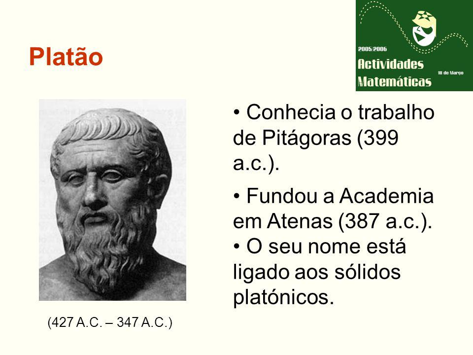 Platão Conhecia o trabalho de Pitágoras (399 a.c.).
