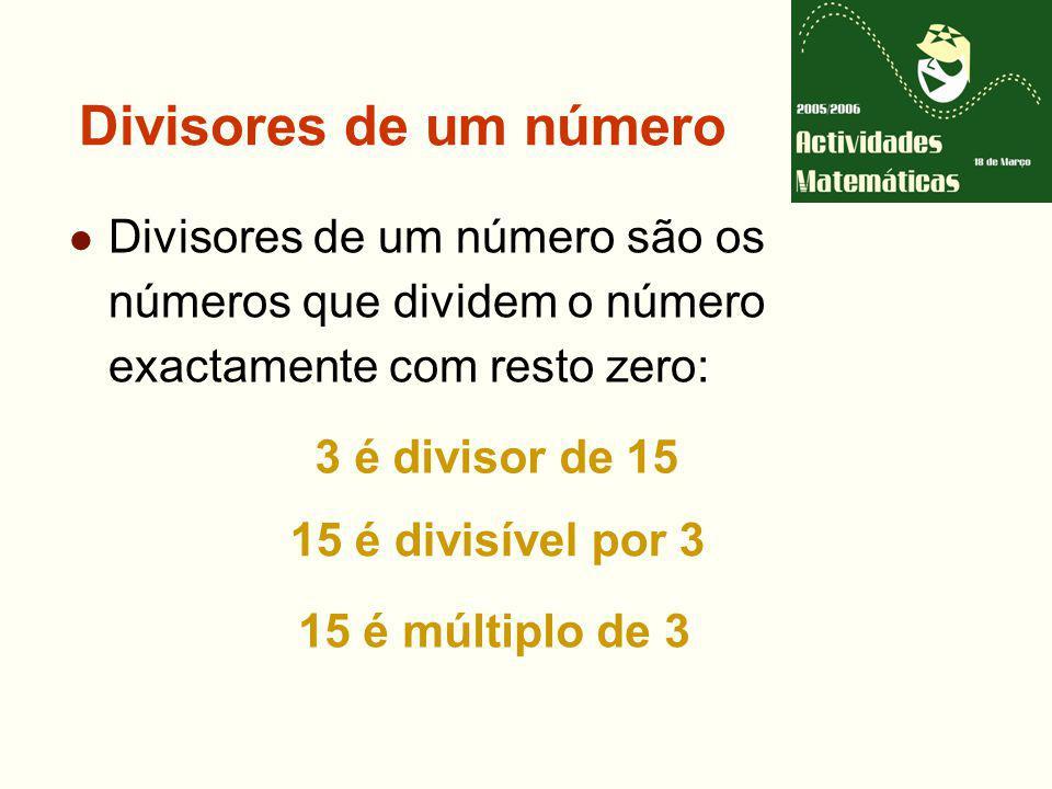 Divisores de um número Divisores de um número são os números que dividem o número exactamente com resto zero: