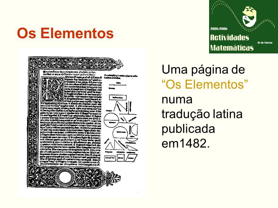 Os Elementos Uma página de Os Elementos numa tradução latina
