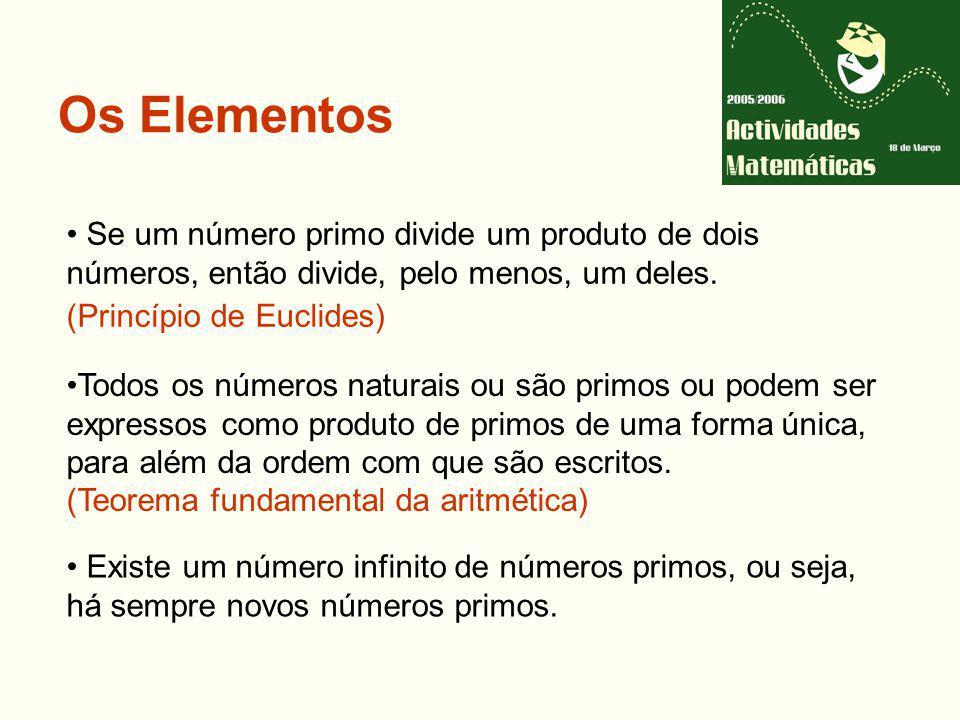Os Elementos Se um número primo divide um produto de dois números, então divide, pelo menos, um deles. (Princípio de Euclides)
