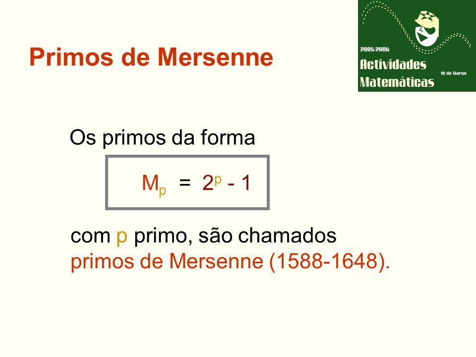 Primos de Mersenne Os primos da forma Mp = 2p - 1