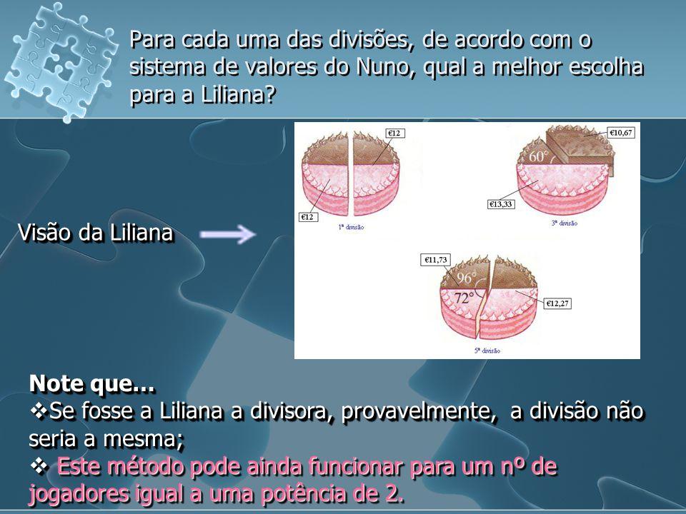 Para cada uma das divisões, de acordo com o sistema de valores do Nuno, qual a melhor escolha para a Liliana