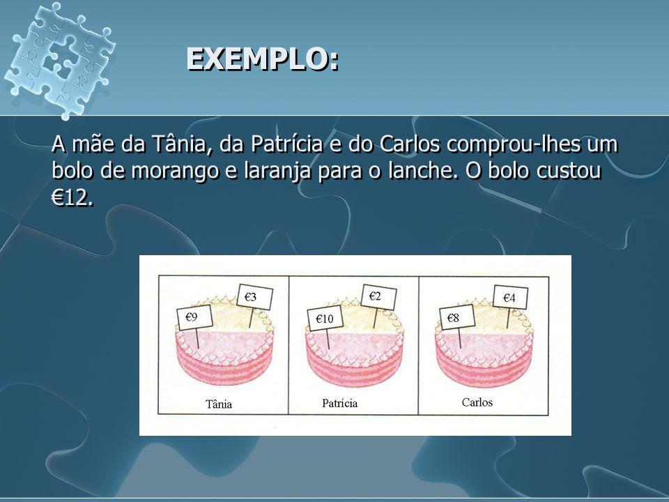 EXEMPLO: A mãe da Tânia, da Patrícia e do Carlos comprou-lhes um bolo de morango e laranja para o lanche.