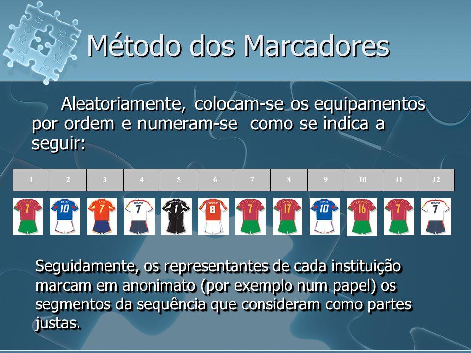 Método dos Marcadores Aleatoriamente, colocam-se os equipamentos por ordem e numeram-se como se indica a seguir:
