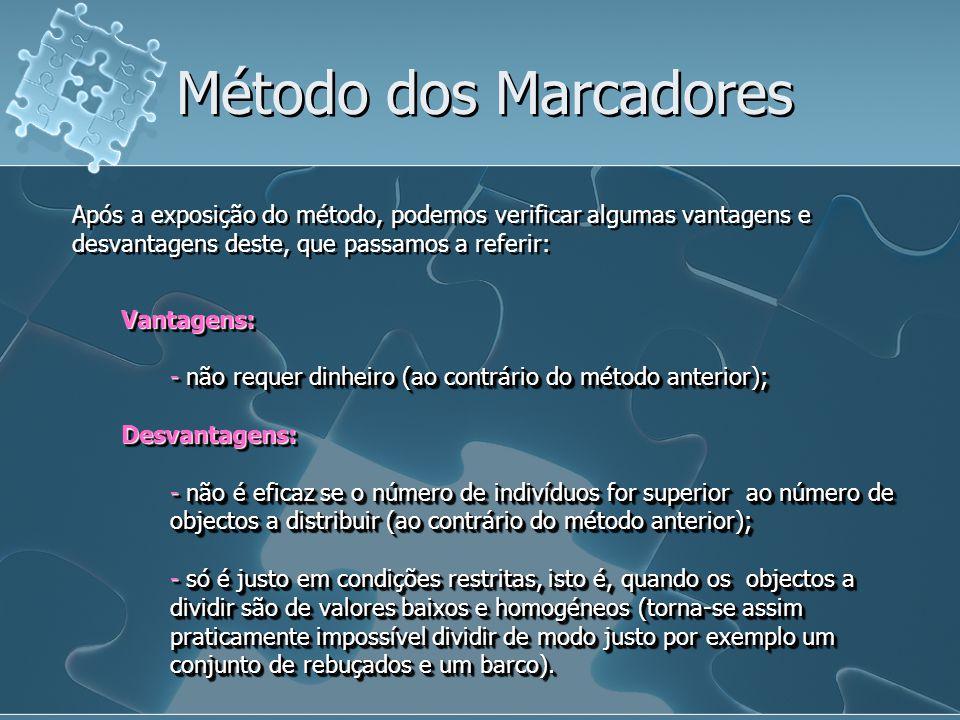 Método dos Marcadores Após a exposição do método, podemos verificar algumas vantagens e desvantagens deste, que passamos a referir: