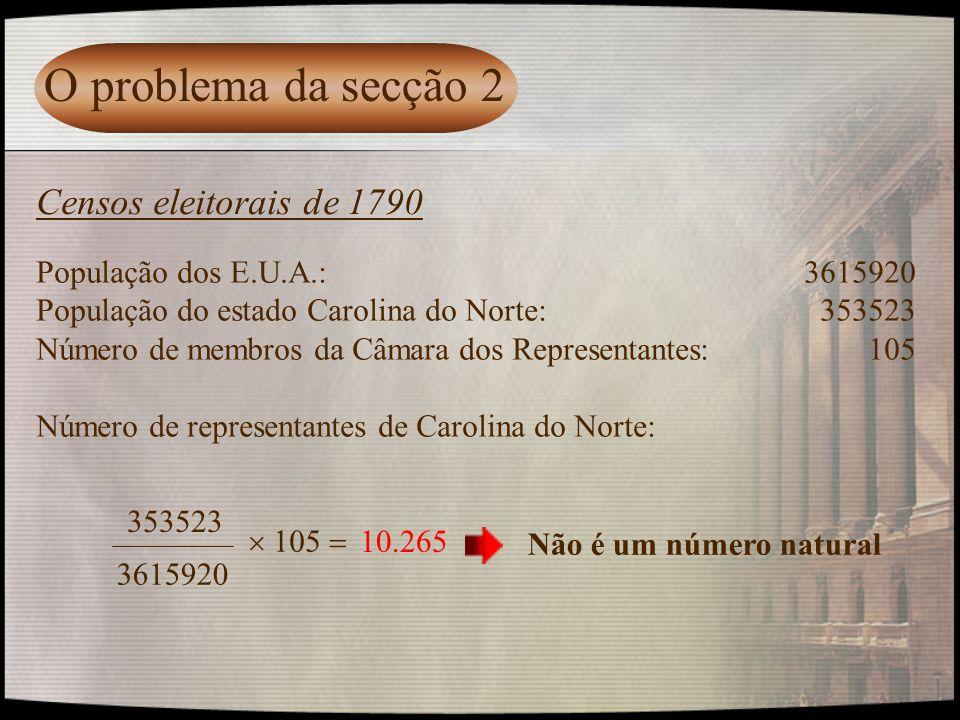O problema da secção 2 Censos eleitorais de 1790