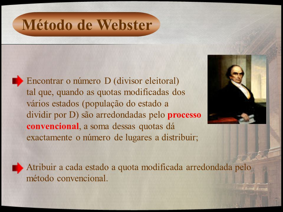 Método de Webster Encontrar o número D (divisor eleitoral)