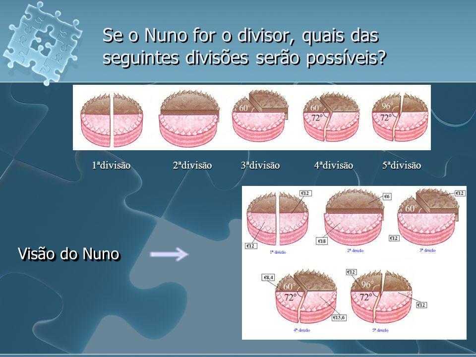 Se o Nuno for o divisor, quais das seguintes divisões serão possíveis