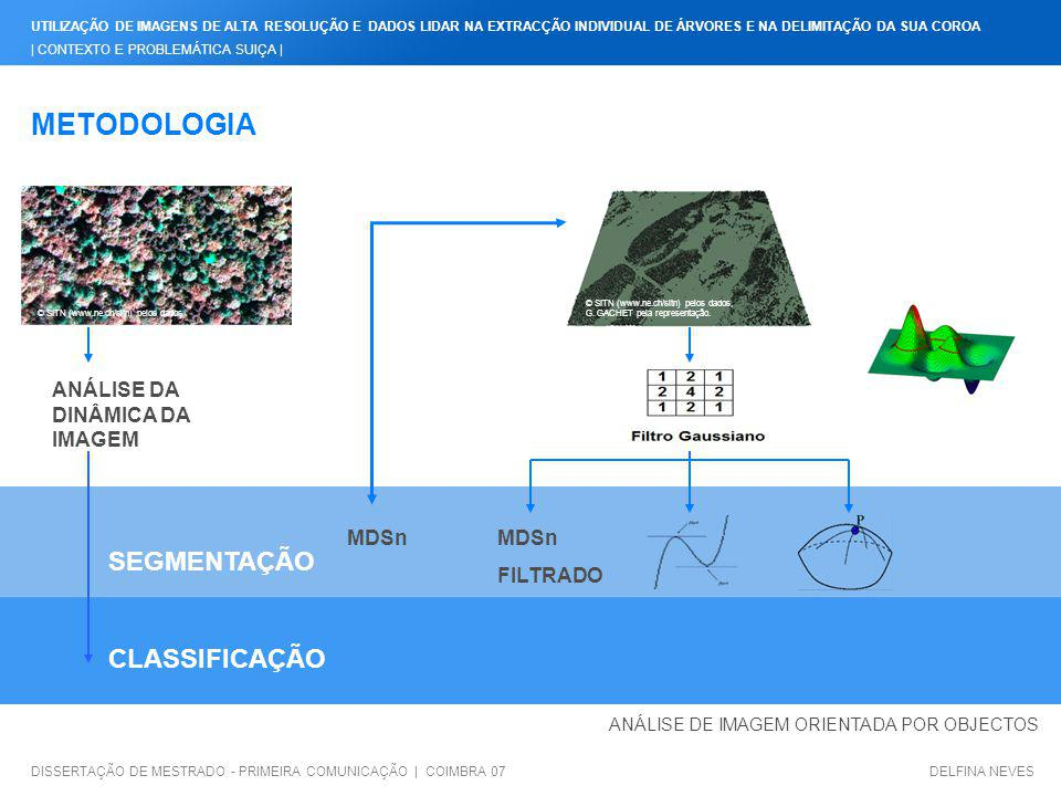 METODOLOGIA SEGMENTAÇÃO CLASSIFICAÇÃO ANÁLISE DA DINÂMICA DA IMAGEM
