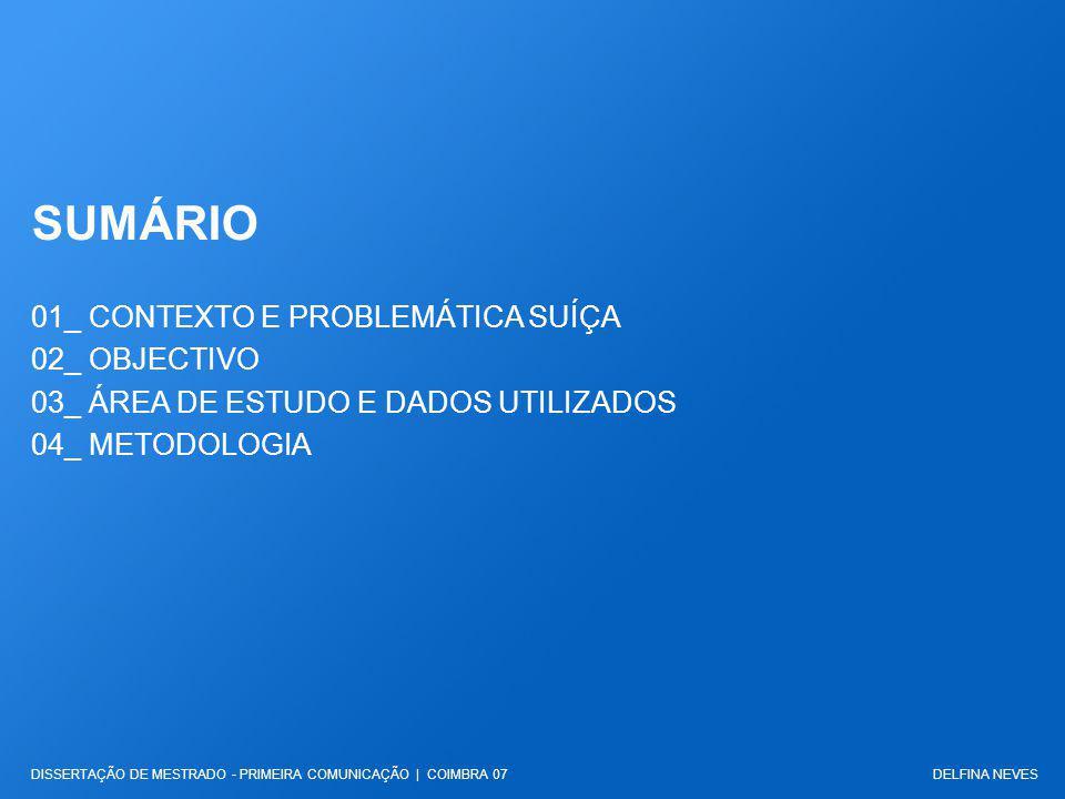 SUMÁRIO 01_ CONTEXTO E PROBLEMÁTICA SUÍÇA 02_ OBJECTIVO