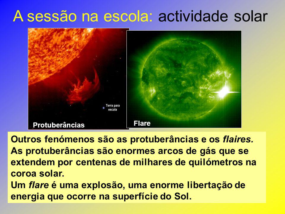 A sessão na escola: actividade solar