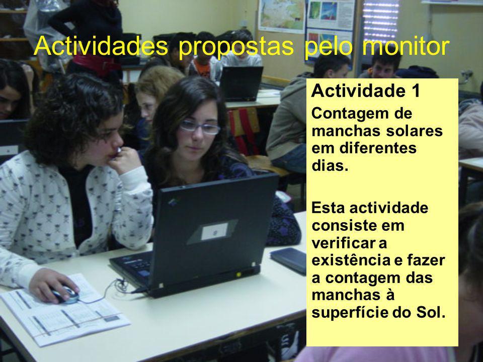 Actividades propostas pelo monitor